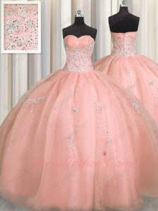 Very Puffy Round Skirt Blush Nifty Quinceanera Court Ball Gown Silver Embroidery
