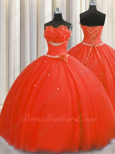 Floor Length Flat Tulle Red Military Prom Evening Ball Gown With Slip Very Puffy