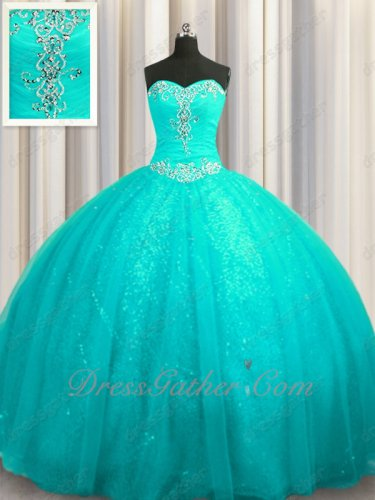 Turquoise Tulle Cathedral Train Girl 15 Plain Quinceanera Adult Ceremony Gown Pretty