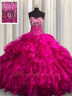High Quality Thick Ruffles Fuchsia Court Train Quinceanera Ball Gown Boutiques Near Me