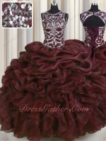 Deepest Burgundy Organza Bubble Wave Ruffle Pretty Quinceanera Ball Gown Silver Beading
