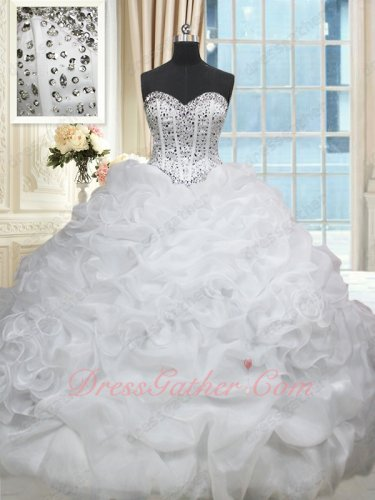 White Drinking Party Amiable Quince Ball Gown Ruffles and Bubble Court Train