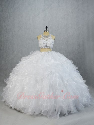 Scoop Sheer Two Pieces Reveal Belly White Organza and Sparkle Tulle Ruffles Ball Gown