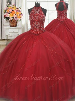 High Halter Flat Tulle Cathedral Train Wine Red Quinceanera Ball Gown Buyers Show