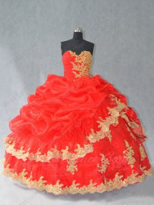 Discount Red Organza Bubble Bluging Quinceanera Ball Gown With Gold Lacework Appliques