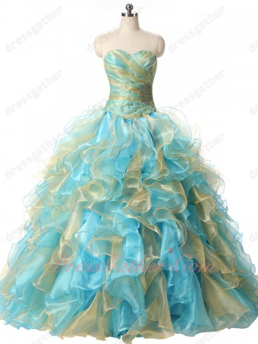 Exclusive Gold and Aqua Mingled Dense Organza Wave Ruffles Quinceanera 16 Ball Gowns
