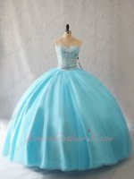 Full Clear Crystals Blouse Multiayers Tulle Adult Quince Ceremony Ball Gown Ice Blue