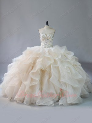 Very Puffy V-Shaped Waist Organza and Horsehair Tule Ruffles Quinceanera Gown Beige