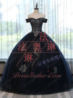 Sparkle Applique Navy Blue Tulle Music Festival Military Ball Gown With Horsehair
