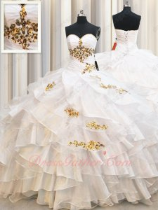 Crossed Layers Skirt Quinceanera Birthday Gown Dressing Up White With Gold Details