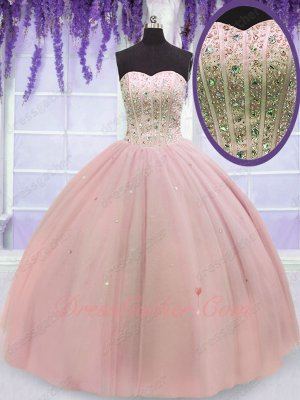 Pale Blush Pink Many Layers Tulle Party Quince Ball Gown With AB Stones Sparkles Skirt
