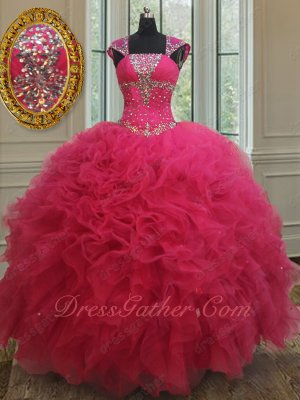 Square Collar Double Straps Cover Shoulder Fuchsia Quinceanera 15 Ball Gown Discount