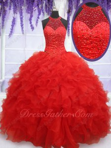 High Collar Halter Red Organza Ruffles Military Ball Gown Bustle Party Performance