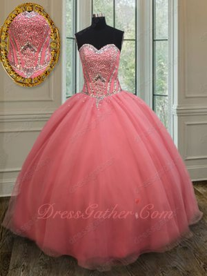 Watermelon Full Silver Beadwork Basque Quinceanera Gown Dress Clearance Price