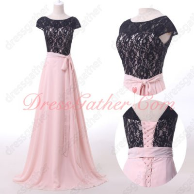 Homelike Black Lace Bodice Pink Chiffon Long Private Dress With Ribbon