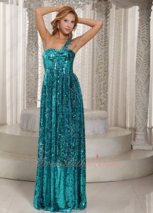 Sparkling Turquoise Paillette One Strap Prom Queen Pageant Evening Gowns Dress Up