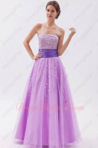 Mallow Bright Lilac Tulle Prom Party Dress With Blue Violet Belt