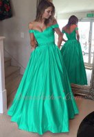 Off Shoulder Turquoise Puffy Satin Formal Military Prom Dress Has Pockets
