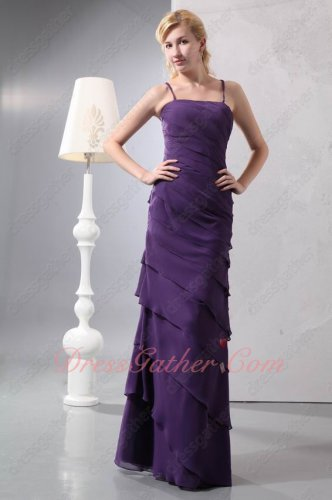 Spaghetti Straps Crossed Back Column Oblique Layers Eggplant Chiffon Formal Prom Dress