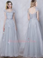 Decent A-line Empire Waist Silver Long Bridal Mama Dress Top Selling