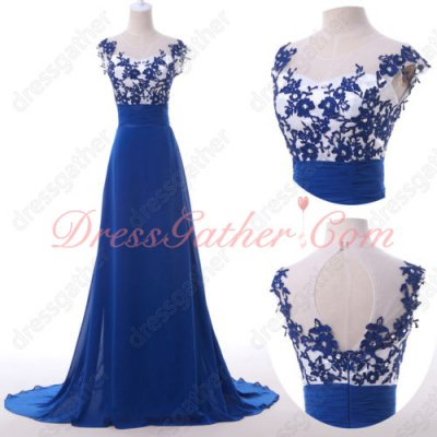 Off White Bodice & Royal Blue Appliques Skirt Contrast Color Old Lady Prom Dress