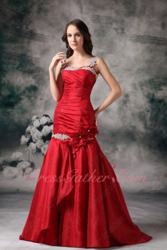 Plus Size XXL Wine Red Taffeta Double Straps Trumpet Formal Evening Dress Cheap