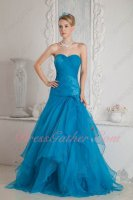 Dropped Waterfall Layers Organza Azure Evening Military Gowns Sales List Top-ranking