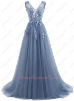 Beautiful 3D Appliques Dust Haze Blue Grey Prom Evening College Social 2019 Trend