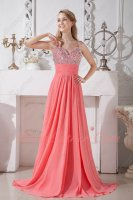 Classical Beaded A-line Watermelon Chiffon Bustle Gathering Prom Dress Suitable