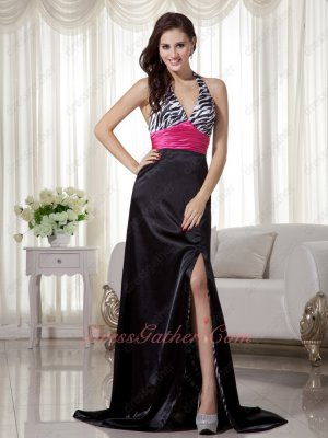 Lady Zebra Print Lining Inside Slender Halter Slit Evening Prom Gowns Fuchsia Belt