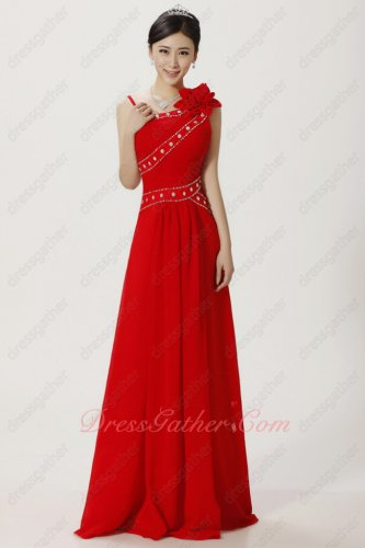 Asymmetric Straps Floor Length Red Ceremony Presenter Prom Dress Inexpensive