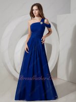 Fair Maiden Royal Blue Chiffon One Shoulder A-line Formal Dress Gowns Graceful