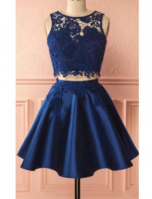 Leaves Pattern Lace Decorated Navy Blue 2 Pieces Cocktail Dress Sexy Dancing Night Pub Dress