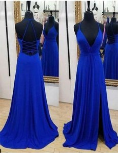 Charming Spaghetti Straps Deep V Neck Draped Split Skirt Evening Party Dress Royal Blue