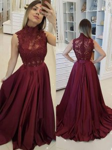 Gorgeous High Neck Button Accented Back Brush Train Burgundy Evening Ball Gown Pageant Dress