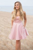 Lovely Bateau Strapless Pink Homecoming Graduation Short Dress With Pockets
