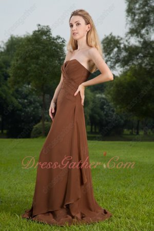 Not expensive Chocolate Brown Strapless Long A Bridal Bridesmaid Dress Lovely