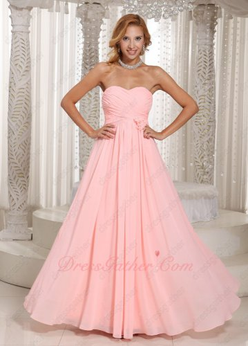 Blush Pink Chiffon Popular Color Ruched Bridesmaid Dress Rose Flowers Waist Decorate