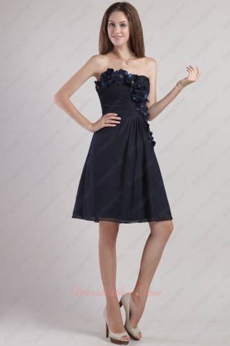 Strapless Mini-length Bridesmaid Group Short Black Dress 3D Flowers Decorate Under 80