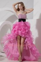 Hot Rose Pink High Low Asymmetrical Length Ruffles Special Occasion Prom Gowns
