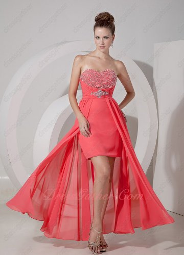 Hot Sale Beaded High-low Skirt Watermelon Sing and Dancing Party Dress Suitable