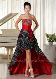 Black & White Wave Point Ruffle Skirt Red Ruch High-Low Grande Toilette