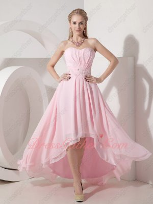 Fascinating Baby Pink Strapless High-low Dancing Dress Live Out Girl's Dreams