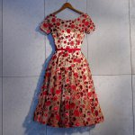 Casual Red and Wine Red Lace Skirt With Champagne Lining Lady Party Dress
