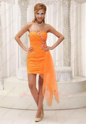 Pin-tucks Orange Chiffon Knee Length Dancing Cocktail Dress Side Flowing Ribbon