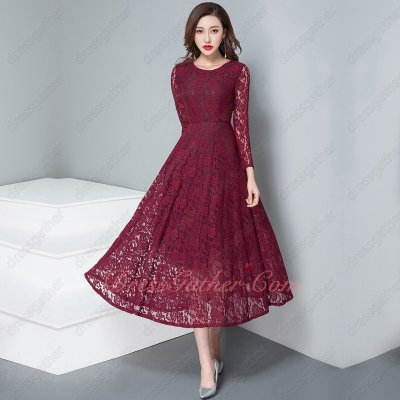 Three Quarter Sleeve Full High Quality France Lace Fashion Item 2020 Prom Tea Length