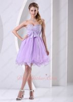 Likable Sweetheart Beaded Puffy Lilac Short Homecoming Dancing Dress Junior Girl