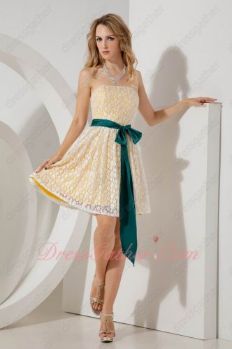 Off White Plain France Lace Peacock Blue Belt Short Prom Dress Daffodil Lining