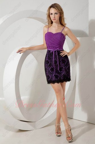 Mauve Purple Ruching Chiffon Bodice Black Package Hips Plain Lace Short Formal Dress