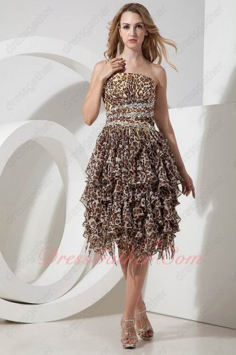 Stylish Cross Back Leopard Pattern Chiffon Ruffles Private Prom Dress Evening